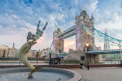 The Tower Bridge at dusk as seen from St. Katharine Docks - Lond Royalty Free Stock Photo