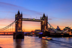 Tower Bridge at dusk in London Stock Photography