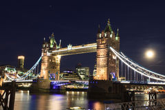 Tower Bridge at dusk in London Royalty Free Stock Image