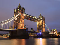 Tower Bridge at dusk in London United Kingdom Royalty Free Stock Image