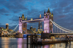 Tower Bridge in the evening in London, UK Royalty Free Stock Image