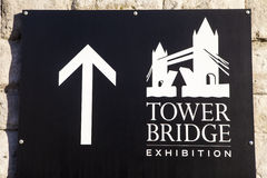 Tower Bridge Exhibition Sign in London Royalty Free Stock Photography