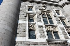 Tower Bridge facade details - close-up. Tower Bridge (built 1886–1894) is a combined bascule and suspension bridge in London. The bridge crosses the River royalty free stock photography
