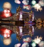 Tower Bridge with firework in London, England celebration of the New Year stock images