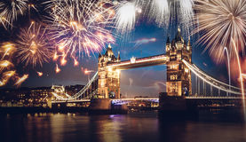 Tower bridge with firework, New Year in London, UK Royalty Free Stock Images