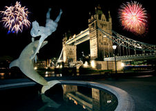 Tower Bridge and Fireworks. royalty free stock image