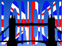 Tower bridge with flag text Stock Photos