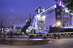 Tower Bridge. Fountain girl with dolphin tower bridge london Royalty Free Stock Images