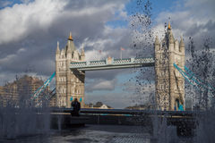 Tower Bridge. Fountains next to the Tower Bridge Stock Images