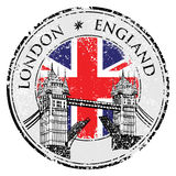 Tower Bridge grunge stamp with flag, vector illustration , London Stock Photo