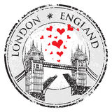 Tower Bridge grunge stamp with hearts,  illustration , London  Stock Images