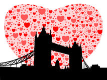Tower Bridge with hearts Stock Images