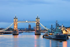 Tower Bridge and HMS Belfast Stock Photography