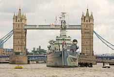 Tower Bridge & HMS Belfast Stock Photos