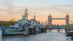 Tower Bridge and HMS Belfast Royalty Free Stock Image