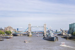 Tower Bridge and HMS Belfast. On the River Thames Royalty Free Stock Image
