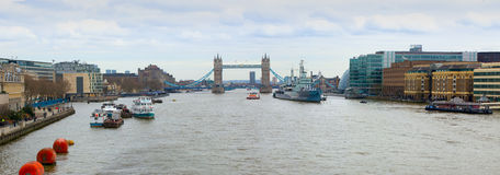 Tower Bridge and HMS Belfast on River Thames Stock Photo