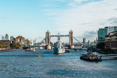 Tower bridge and the Hms Belfast Warship in London Royalty Free Stock Photos