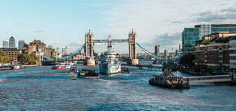 Tower bridge and the Hms Belfast Warship in London Stock Image