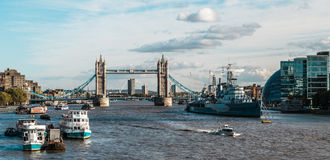 Tower bridge and the Hms Belfast Warship in London Stock Images