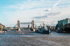 Tower bridge and the Hms Belfast Warship in London Royalty Free Stock Photo