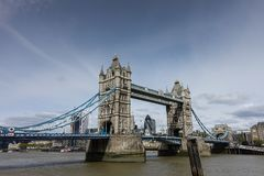 Viewpoint of Tower Bridge in London. Tower Bridge, an iconic symbol of London. Run crosses the River Thames Stock Photo
