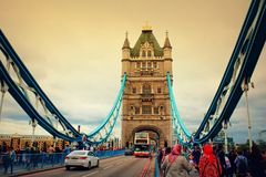 Tower Bridge iconic symbol of London United Kingdom. View of Tower Bridge-the most famous bridge in the world,London Great Britain.Tower Bridge is a combined Stock Images