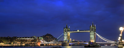 Tower Bridge illuminated at night taken from the South Bank in London, 2017 Stock Photos