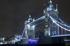 Tower Bridge illuminated at night Stock Images