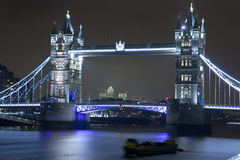Tower Bridge illuminated at night Stock Photo