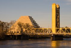 Tower Bridge In Sacramento At Sunset Stock Photography