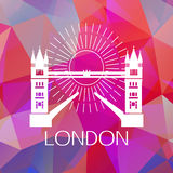The Tower bridge label or logo over geometric Stock Photo