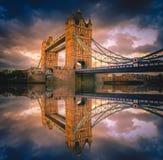 Tower Bridge landmark in London city at sunset Royalty Free Stock Photos