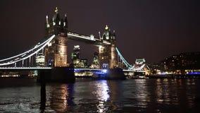 Tower Bridge Lift at Night stock video