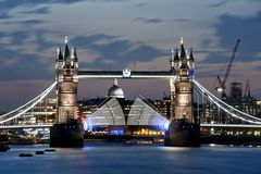 Tower Bridge lifted at dusk. Multiple exposure of Tower Bridge being lifted at sunset in London Royalty Free Stock Photos