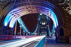Tower Bridge Light Trails Stock Photography