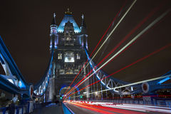 Tower bridge with light trails. London Tower bridge with light trails Stock Photography