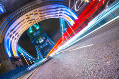 Tower Bridge Light Trails Royalty Free Stock Images