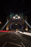 Tower Bridge Light Trails Stock Image