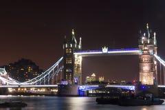 Tower Bridge lit at night Royalty Free Stock Image