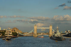 Tower Bridge,London during the 2012 Olympics Royalty Free Stock Photos