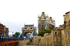 Tower Bridge London. A view of Tower and Tower Bridge in London Stock Image