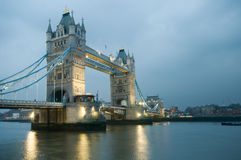 Tower Bridge in London. Tower Bridge over the River Thames in London at evening Stock Photo
