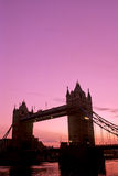 Tower Bridge-London. Tower Bridge silhouetted over the River Thames at sunrise- London, England Royalty Free Stock Photography