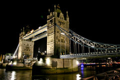Tower Bridge in London. England over the River Thames at night stock photo