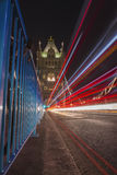 Tower Bridge London. Tower Bridge with blurred the lights of cars in London Royalty Free Stock Images