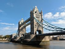 Tower Bridge in London. Tower Bridge (built 1886–1894) is a combined bascule and suspension bridge in London. The bridge crosses the River Thames close to the Stock Photo