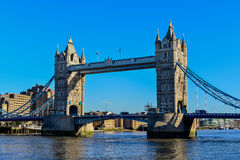 Tower Bridge in London crosses River Thames Royalty Free Stock Images