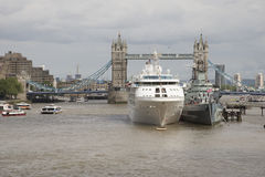 Tower Bridge London a cruise ship and HMS Belfast Stock Photos