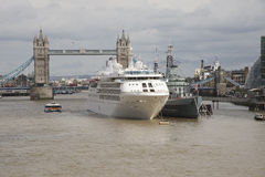 Tower Bridge London a cruise ship and HMS Belfast Royalty Free Stock Photos